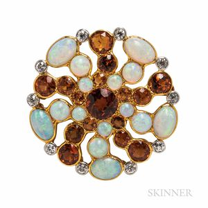 Tiffany & Co. Opal and Diamond Brooch