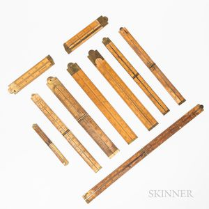 Ten Brass and Boxwood Folding Rulers
