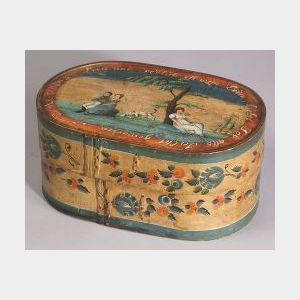 Polychrome Painted Wooden Bride's Box