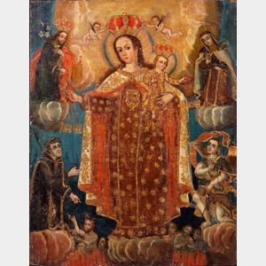 Spanish Colonial School, 19th Century    Virgin and Child with Saints Interceding for Souls in Purgatory