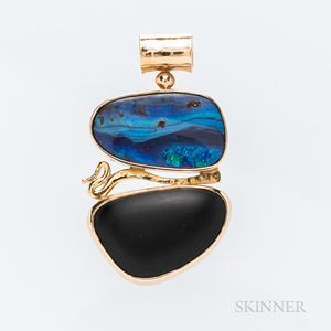 Ostrander 18kt and 14kt Gold, Opal, and Onyx Pendant