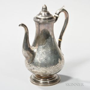 J.E. Stanwood Coin Silver Coffeepot