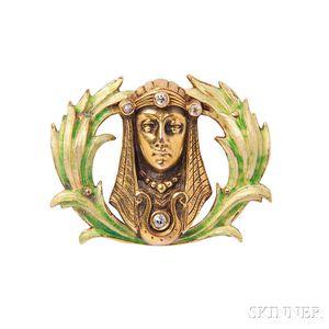 Art Nouveau 14kt Gold, Enamel, and Diamond Watch Pin