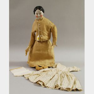 Early Brown-eyed China Head Doll with Additional Dress