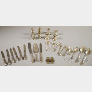 Group of Assorted Coin and Sterling Silver Flatware and Tableware