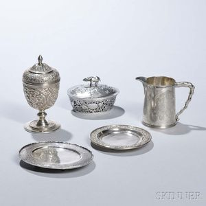 Three Pieces of Chinese Export Silver Tableware