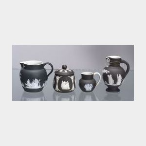 Four Miniature Wedgwood Black Jasper Dip Items