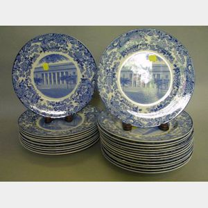 Set of Twenty-four Wedgwood Blue and White MIT Transfer Decorated Dinner Plates.