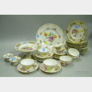Thirty-four Pieces of Mostly Dresden Gilt and Hand-painted Floral Decorated   Porcelain Tableware