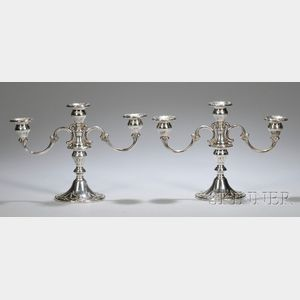 Pair of Gorham Weighted Sterling Silver Convertible Three-light Candelabra