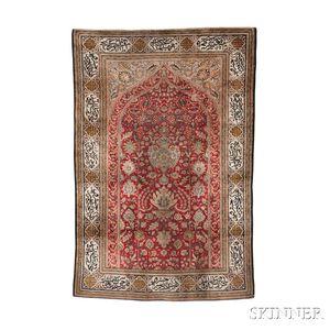 Silk Qum Prayer Rug
