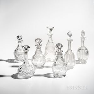 Seven Cut Glass Decanters with Stoppers
