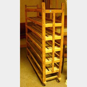 Country Pine Rolling Bakers Rack.