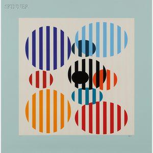 Yaacov Agam (Israeli, b. 1928)      Untitled (Striped Ovals)