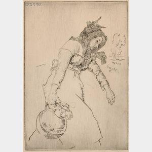 Edmund Blampied (British, 1886-1966)      A Jersey Milkmaid