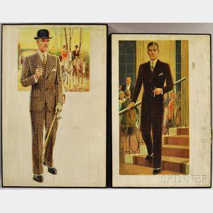 Edmund Magrath (American, 1885-1961)      Two Fashion Illustrations of Gentlemen