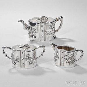 Three-piece Assembled Chinese Export Silver Tea Service