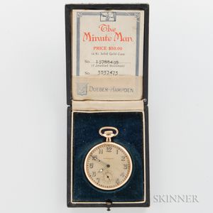 "Hampden ""Minute Man"" 14kt Gold Open-face Watch"