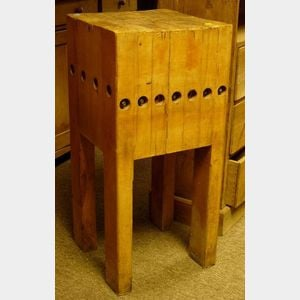 Small German Butchers Block on Stand.