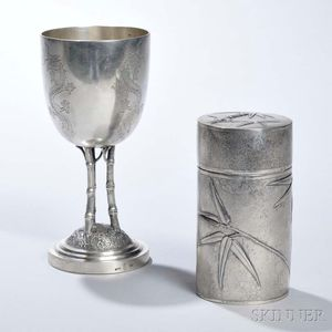 Two Pieces of Chinese Export Silver Tableware