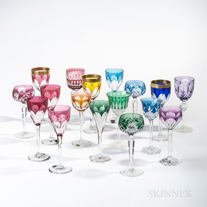 Seventeen Colored Cut to Clear Wineglasses
