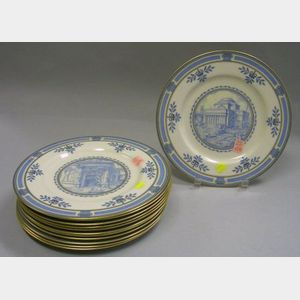 Set of Thirty-five Wedgwood Gilt and Light Blue Columbia University Transfer Decorated Porcelain Dinner Plates.