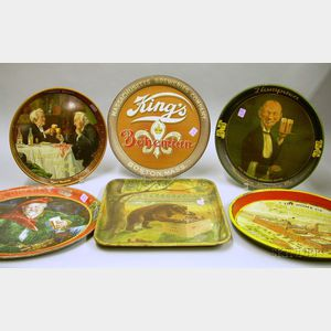 Six Chromolithographed Pressed Metal Beer Trays