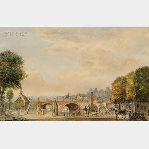Franz Schikkinger (Dutch, 1838-1902)      Bridge over the Keizersgracht Canal