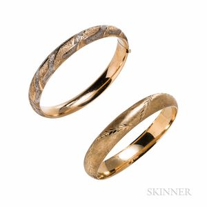 Two 14kt Gold Hinged Bangle Bracelets