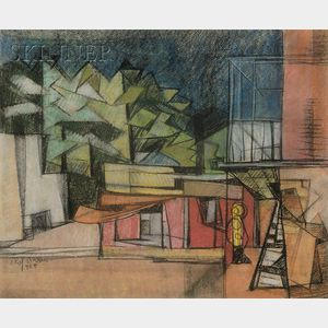 Elof Wedin  (American, 1901-1983)      View of a Modernist House