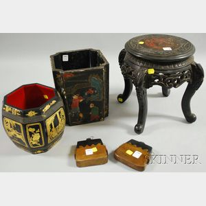 Japanese Carved Wood Stand and Four Asian Containers