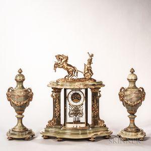 Three-piece Onyx Clock Garniture
