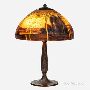 Handel Reverse-painted Landscape Table Lamp