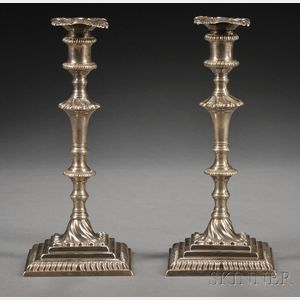 Assembled Pair of George III Silver Candlesticks