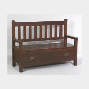Roycroft Oak Hall Bench
