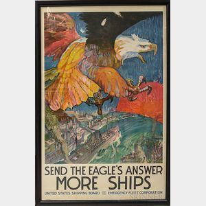 Framed WWI Send The Eagle's Answer More Ships   Poster
