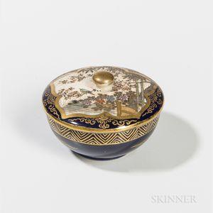 Miniature Blue-ground Yasui Satsuma Covered Box