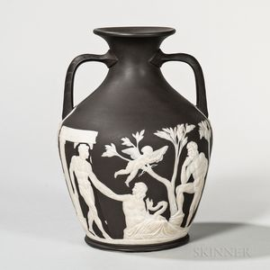 Wedgwood Thomas Lovatt Solid Black Jasper Portland Vase