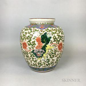 Chinese Enameled Porcelain Shishi Vase