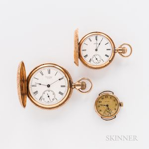 Two 14kt Gold Hunter-case Watches and a Converted Wristwatch