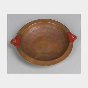 Bakelite Mounted Hammered Copper Bowl.