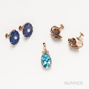 18kt Gold Gem-set Pendant and Two Pairs of Floral 14kt Gold Earclips