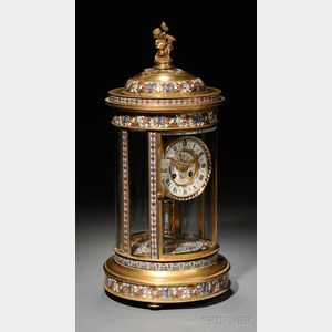 Sold for: $19,680 - French Brass and Champleve Crystal Regulator