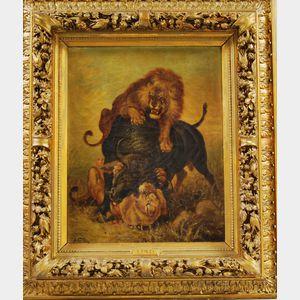 L. Folta (Italian, 19th Century)      Lions Attacking a Buffalo