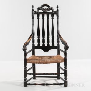Black-painted Turned and Carved Bannister-back Armchair