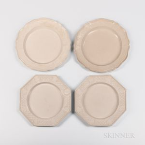 Two Pairs of Staffordshire Press-molded Salt-glazed Stoneware Plates