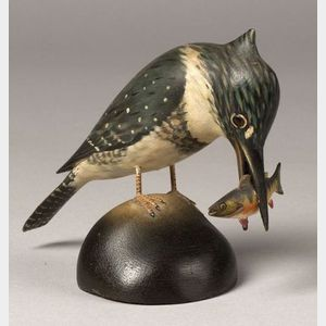 Carved Kingfisher with Perch