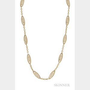 Antique 18kt Gold and Pearl Chain