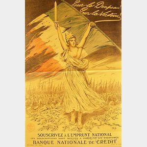 Georges Bertin Scott Pour le Drapeau! Pour la Victoire!   French WWI   Lithograph Poster