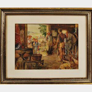 Thomas Fogarty (American, 1873-1938)      Visiting the Blacksmith